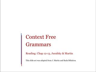 Context Free Grammars Reading: Chap 12-13, Jurafsky & Martin