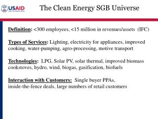 The Clean Energy SGB Universe