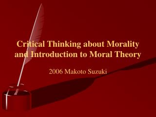 introduction to moral theory (introduction)