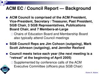 ACM EC / Council Report — Background