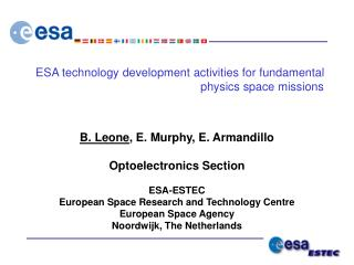 ESA technology development activities for fundamental physics space missions