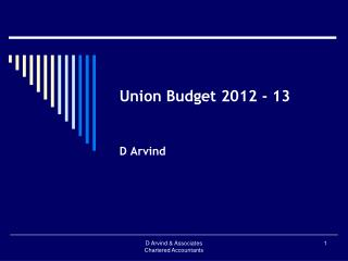 Union Budget 2012 - 13