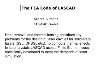 The FEA Code of LASCAD