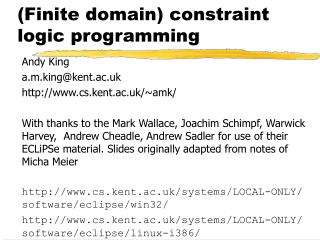 (Finite domain) constraint logic programming