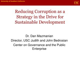 Reducing Corruption as a Strategy in the Drive for Sustainable Development