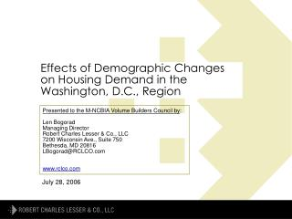 Effects of Demographic Changes on Housing Demand in the Washington, D.C., Region