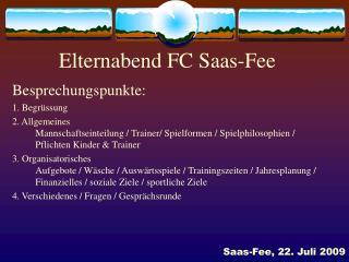 Elternabend FC Saas-Fee
