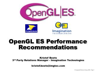 OpenGL ES Performance Recommendations
