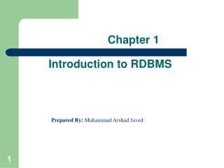 Chapter 1 Introduction to RDBMS