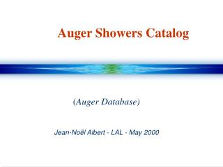 Auger Showers Catalog