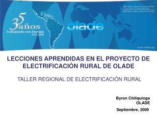 TALLER REGIONAL DE ELECTRIFICACIÓN RURAL