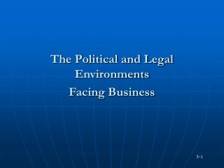 The Political and Legal Environments  Facing Business