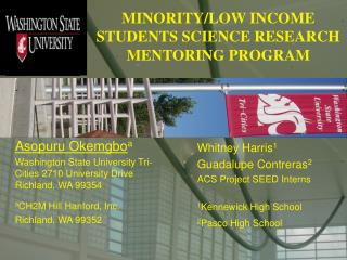 MINORITY/LOW INCOME STUDENTS SCIENCE RESEARCH MENTORING PROGRAM