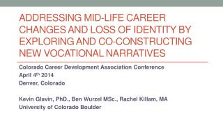 Colorado Career Development Association Conference April 4 th  2014 Denver, Colorado