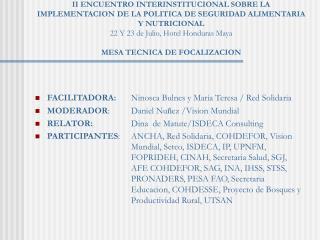 FACILITADORA:  Ninosca Bulnes y Maria Teresa / Red Solidaria