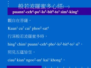 般若波羅蜜多心經 (一)	 puann 1 -ceh 4 -po 1 -lo 5 -bit 8 -to 1  sim 1 -king 1