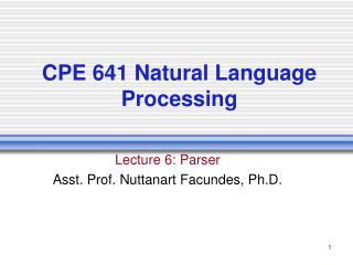 CPE 641 Natural Language Processing