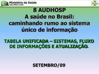 8 AUDHOSP A saúde no Brasil: caminhando rumo ao sistema único de informação