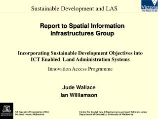 Report to Spatial Information Infrastructures Group