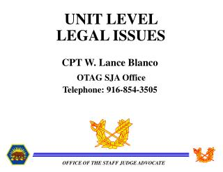 UNIT LEVEL  LEGAL ISSUES