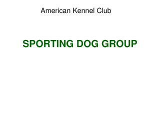 SPORTING DOG GROUP