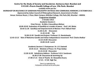 Workshop on Gandhi Jayanti Mithibai College, Mumbai 2 10 2012