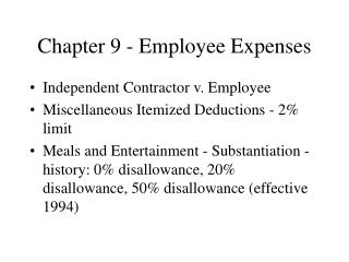 Chapter 9 - Employee Expenses