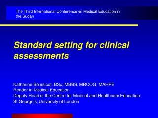 Standard setting for clinical assessments