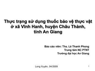 Thực trạng sử dụng thuốc bảo vệ thực vật ở xã Vĩnh Hanh, huyện Châu Thành, tỉnh An Giang