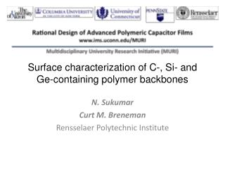 Surface characterization of C-, Si- and Ge-containing polymer backbones
