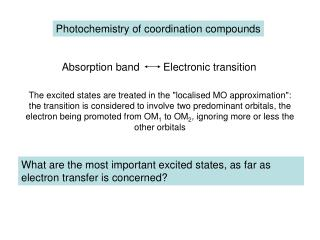 Photochemistry of coordination compounds