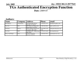 TGs Authenticated Encryption Function