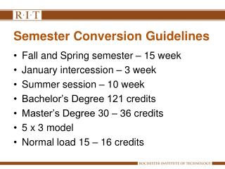 Semester Conversion Guidelines