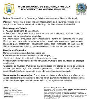 O OBSERVATÓRIO DE SEGURANÇA PÚBLICA NO CONTEXTO DA GUARDA MUNICIPAL