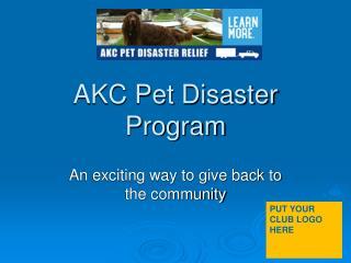 AKC Pet Disaster Program
