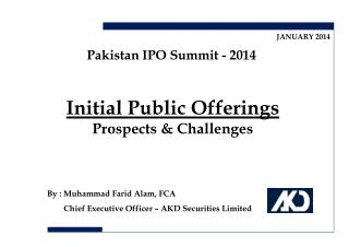 Initial Public Offerings Prospects & Challenges
