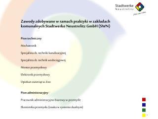 Zawody zdobywane w ramach praktyki w zakładach komunalnych Stadtwerke Neustrelitz GmbH (SWN)