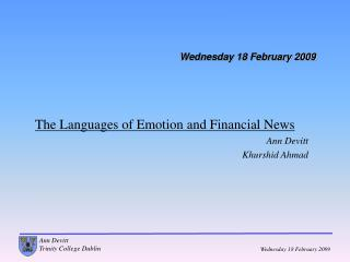 Wednesday 18 February 2009