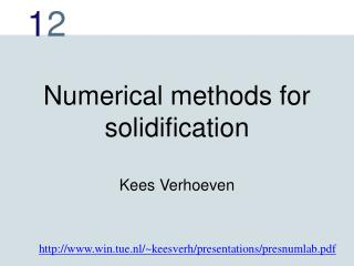 Numerical methods for solidification