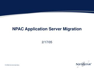 NPAC Application Server Migration