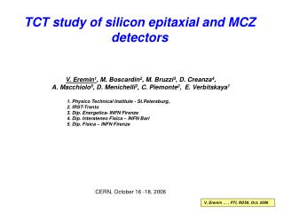 TCT study of silicon epitaxial and MCZ detectors