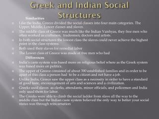 Greek and Indian Social Structures