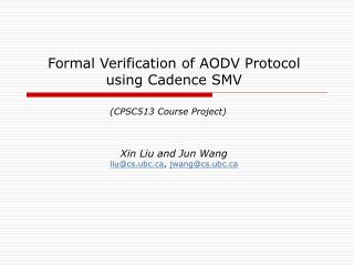 Formal Verification of AODV Protocol using Cadence SMV