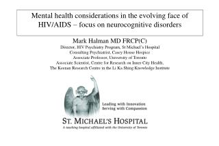 Cognitive disorders in HIV + patients