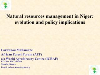 Natural resources management in Niger: evolution and policy implications