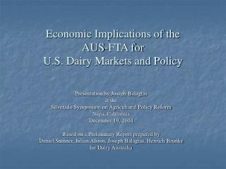 Economic Implications of the  AUS-FTA for  U.S. Dairy Markets and Policy