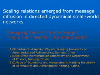 Scaling relations emerged from message diffusion in directed dynamical small-world networks