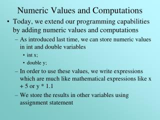 Numeric Values and Computations