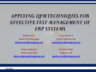 Applying  QPM Techniques  for  effective  Test  Management  of ERP Systems