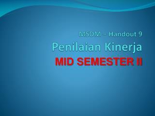 MSDM � Handout 9  Penilaian Kinerja